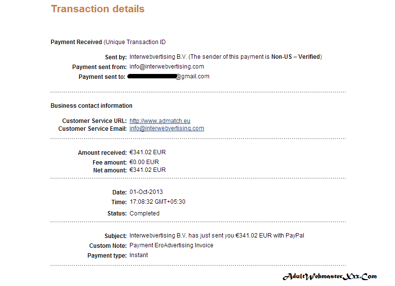 ero advertising - Payment Proof Oct 2013