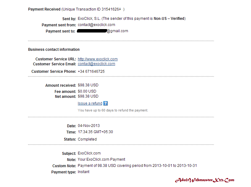 exoclick payment proof Nov 2013